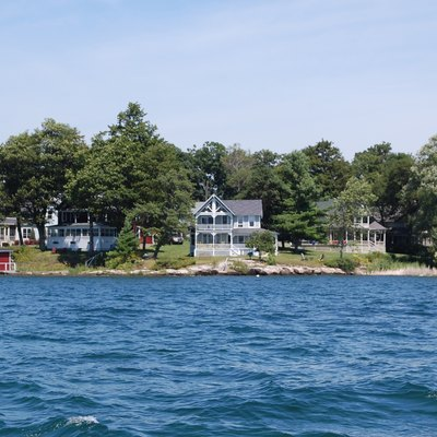 Victorian cottages in the community of Thousand Island Park on Wellesley Island, New York, as seen from the Saint Lawrence Seaway.