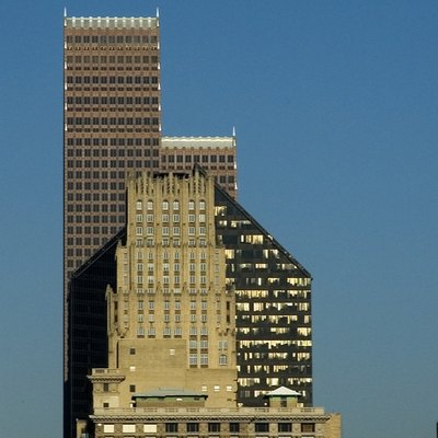 Three Eras of buildings in Houston, Texas - Gulf Oil, 1920s, Pennzoil, 1970s, and Republic Bank, 1980s (by Tom Haymes)