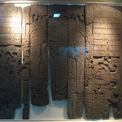 Maya site of Tikal, Petén, guatemala. Lintel 3 from temple IV. Sapodilla wood. King Yik'in Chan K'awiil (AD 743)