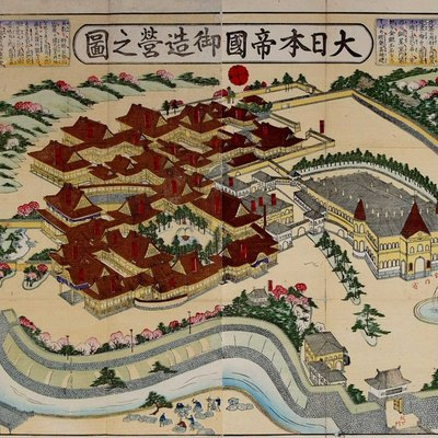 Bird's-eye view of the Meiji palace which was completed in October 1888.