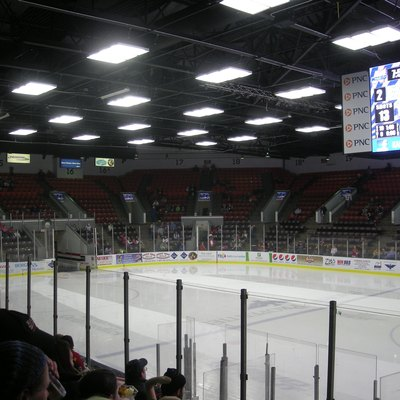 The interior of the arena during the Toledo Walleye vs. Kalamazoo Wings ice hockey game at Wings Stadium in Kalamazoo, Michigan (United States).
