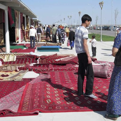 Carpets for sale at the Tolkuchka Bazaar, Ashgabat, Turkmenistan.