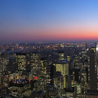 New York skyline, looking south at dusk.