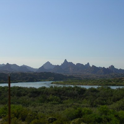View of Colorado River from Topock, Arizona, looking downstream towards the Needles Peak Mountains in the Topock Gorge