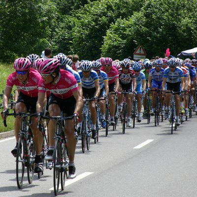 The Peloton of the Tour de France, 9th of July 2005 at the begin of the ascend to Cote de Bad Herrenalb.