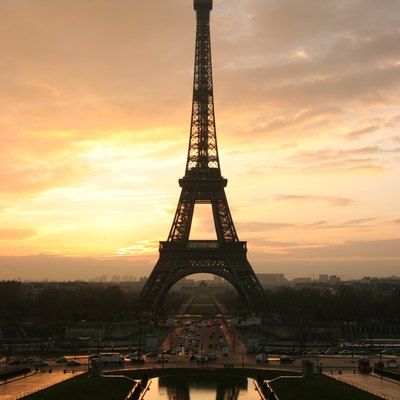 The Eiffel tower at sunrise, taken from the Place du Trocadero. Paris, France.