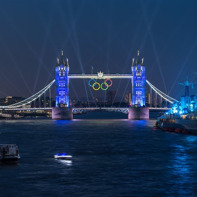 Tower Bridge, lit up to celebrate the London 2012 Summer Olympics.