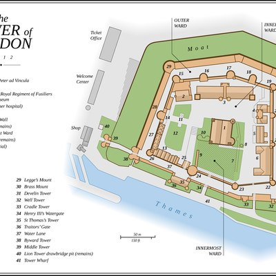 Map of the Tower of London (English version)