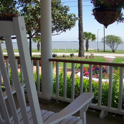 Tres Palacios Bay, part of Matagorda Bay. Photo taken from the porch of the Peaceful Pelican B&B in Palacios, TX.