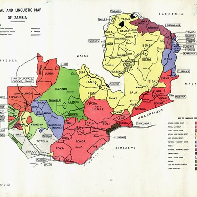 Tribal and linguistic map of Zambia - date unkown