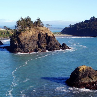 Trinidad State Beach from College Cove Bluffs - Pewetole Island and Trinidad Head