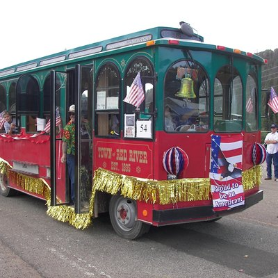 Red River, New Mexico trolley in the fourth of July parade