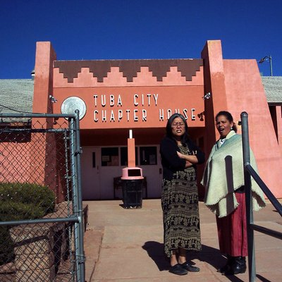 Kaibab employees at the Tuba City Chapter House on Navajo Nation to discuss Forest projects with Chapter Officials. Please give credit to: U.S. Forest Service, Southwestern Region, Kaibab National Forest.