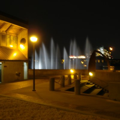 Tulsa River Parks Fountain at Night