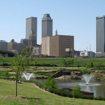 The skyline of downtown Tulsa, Oklahoma, in May 2008.