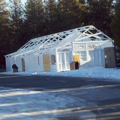 The closed store at Tuolumne Meadows in Yosemite National Park in winter. The canvas roof has been removed.