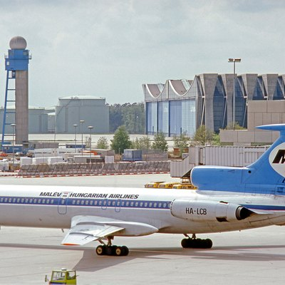 Tupolev Tu-154 HA-LCB of Malev Hungarian Airlines at Frankfurt Airport in 1977