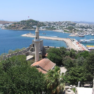View on mosque, breakwater, marina and part of the city from castle of St.Peter in Bodrum, Turkey.