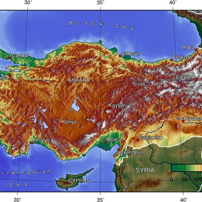 Topographical map of Turkey