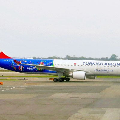 Turkish Airlines plane, decorated with UEFA Euro 2016 emblems.