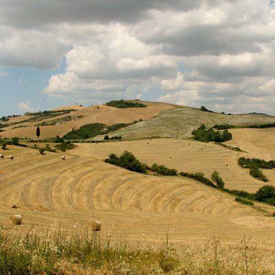 Tuscany landscape west of Siena with agricultural area