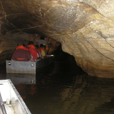 Boat tour of Twin Caves at Spring Mill State Park in Southern Indiana. Photographed by me on a June 2006 boat tour of Twin Caves at Spring Mill State Park, Mitchell, IN