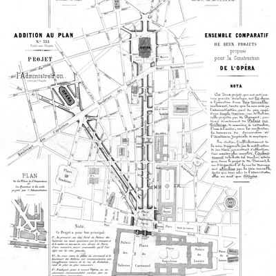 Two projected alternative sites for a new house for the Paris Opera, the first overlapping the site of Salle Le Peletier, the company's theatre at that time, and the second on the Boulevard des Capucines, where the Palais Garnier would soon be built. The plan also shows two proposed alternative routes for a broad imperial avenue running north from the Louvre to the new opera house. The second, at first referred to as the Avenue Napoléon, corresponds to the present-day Avenue de l'Opéra.