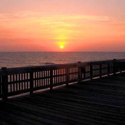 Sunrise from the Tybee Island pier in Tybee Island, Georgia, in the southeastern United States.