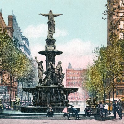 The Tyler Davidson Fountain, a symbol of Cincinnati, was dedicated in 1871.