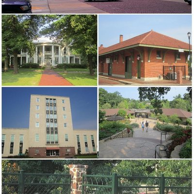 Clockwise: Skyline, Cotton Belt Depot Museum, Caldwell Zoo, Chamblee Rose Garden, Smith County Courthouse, Goodman Home