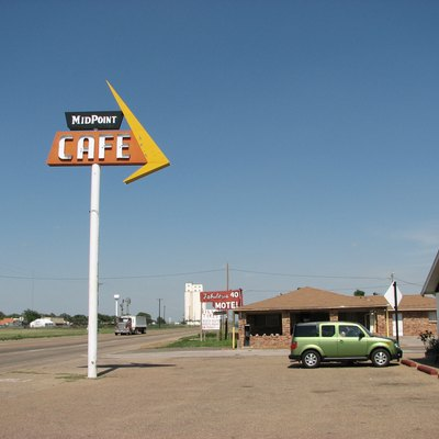 The tiny town of Adrian on U.S. Route 66 in Texas has branded itself since 1995 as the