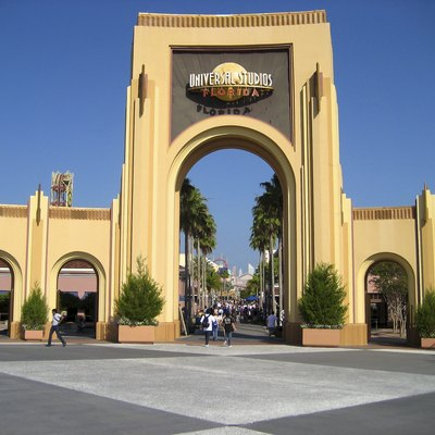 The entrance gate to Universal Studios Florida taken during park opening.