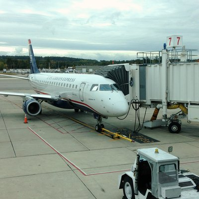 A Republic Airlines Embraer 175 registered N137HQ at Manchester–Boston Regional Airport, New Hampshire. Awaiting departure to Philadelphia (PHL) as US Airways Express Flight 3287