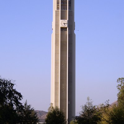 A photograph of the Belltower at University of California, Riverside. This Belltower rings hourly to the song of