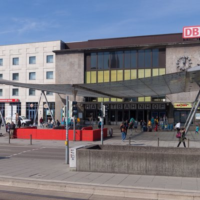 Hauptbahnhof (Main Station) In Ulm, View On The Main Entry.