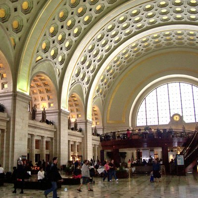 A photograph of the interior of Union Station in Washington, D.C.. (I took this picture).