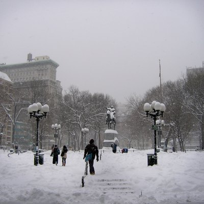 Union Square During 2006 Blizzard, New York City.