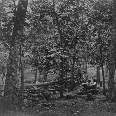 Gettysburg, Pennsylvania. Federal breastworks in the woods on Culp's Hill