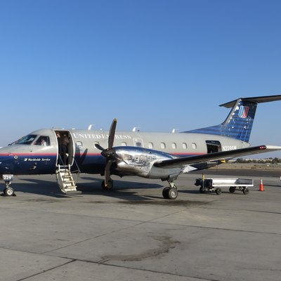 United Express Embraer 120 registered N229SW at Fresno Yosemite International Airport. Operated by SkyWest Airlines