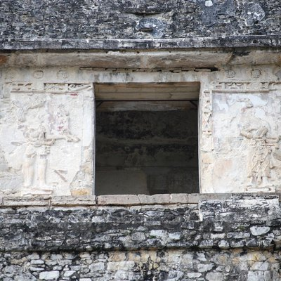 Upper middle panels of the Temple of Inscriptions in Palenque, Chiapas, Mexico