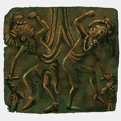 A illustration of the Mississippian culture Upper Bluff Lake Dancing Figures (also known as the Dancing Birdmen[1]) repoussé copper plate found at the Saddle Site in Union County, Illinois.[2]