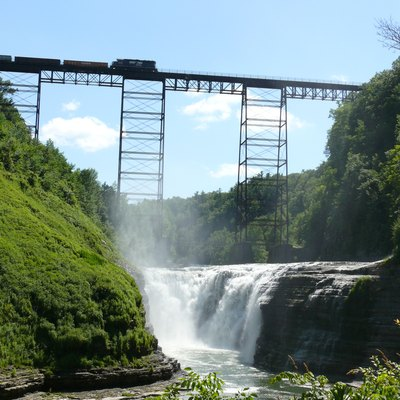 Upper Falls in Letchworth State Park, Portage Bridge in the background.
