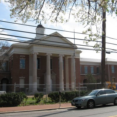 The under-renovation courthouse in Upper Marlboro, Maryland, USA.