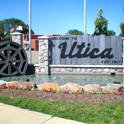 Utica Michigan Downtown Welcome Sign