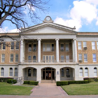 The Uvalde County, Texas Courthouse located in Uvalde, Texas, United States. The Neoclassical style structure was built in 1928 and is the fifth building to serve as the Uvalde County Courthouse. The building was designated a Recorded Texas Historic Landmark in 1983.