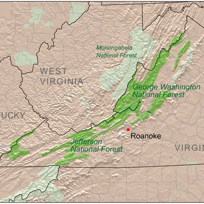 Map showing the location of the George Washington and Jefferson National Forests in Virginia, United States.