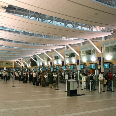Interior view of the Vancouver International Airport's domestic check-in area