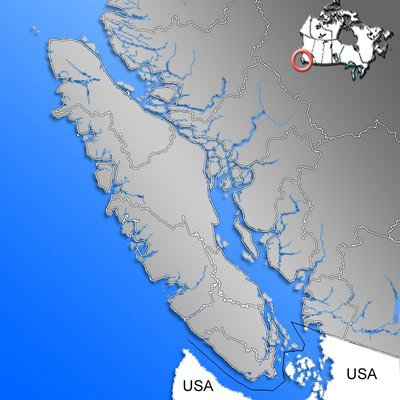 Contour of Vancouver Island with Regional Districts