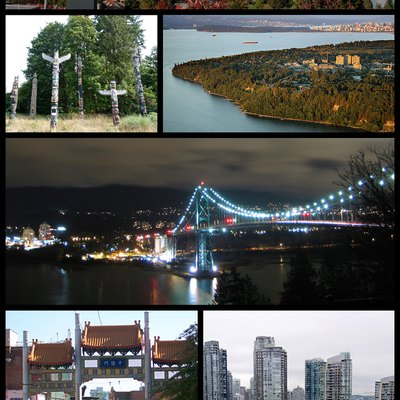 From top left, Downtown Vancouver from the southern shore of False Creek, totem poles in Stanley Park, University of British Columbia campus, Lions Gate Bridge, Millenium Gate in Chinatown, boats on the harbour, and Granville Island, in Vancouver.