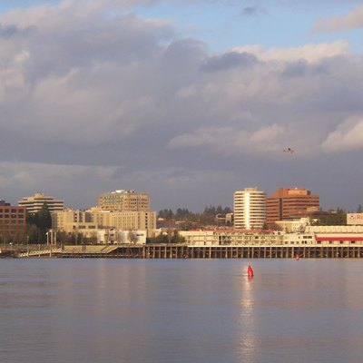 View of downtown Vancouver, Washington during horizontal period from Hayden Island.
